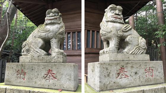 大谷石の狛犬の画像