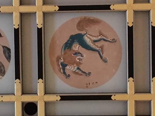 緑の唐獅子の絵の画像